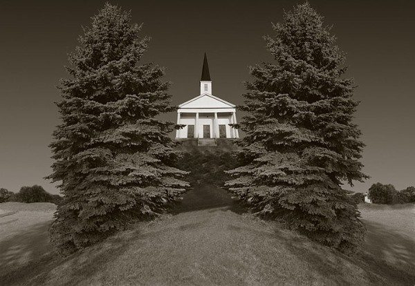 Church and Two Trees