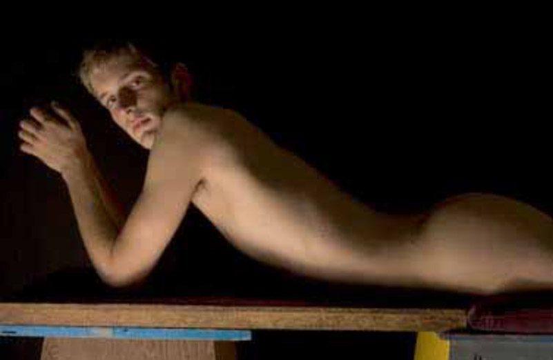 Untitled (Broadway Studio Series, Man Laying on Bench)