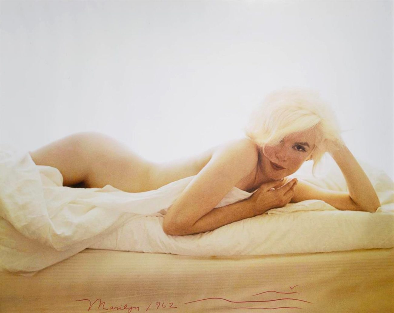 Marilyn Monroe nude on a bed, from The Last Sitting for Vogue