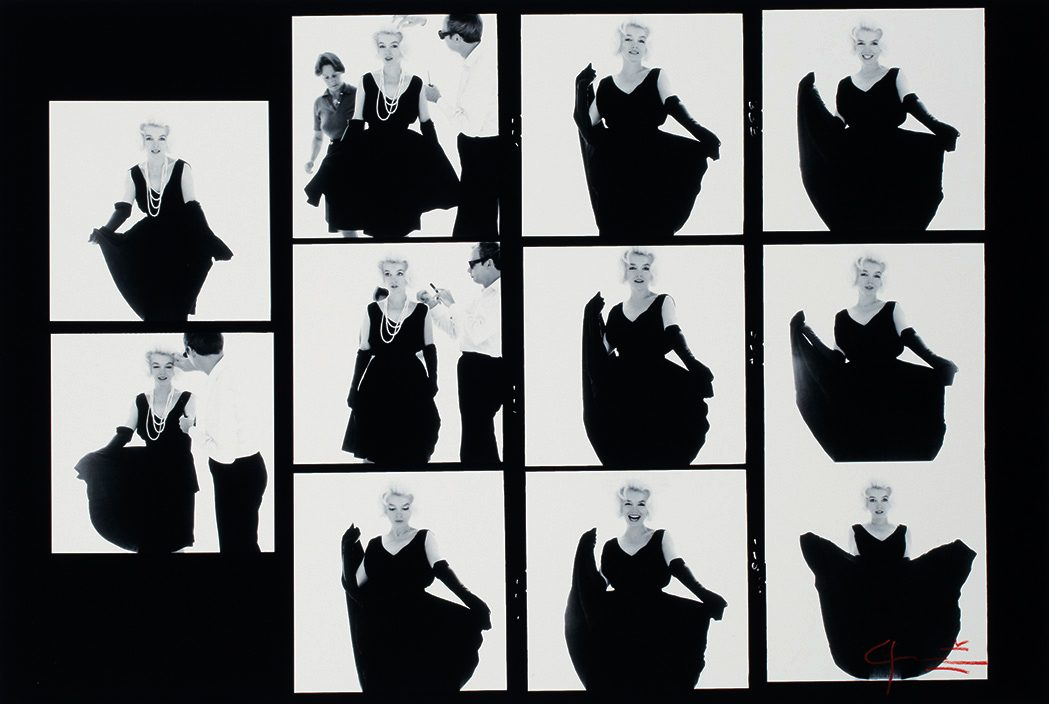Marilyn Monroe in a black dress, contact sheet with eleven images, from The Last Sitting for Vogue