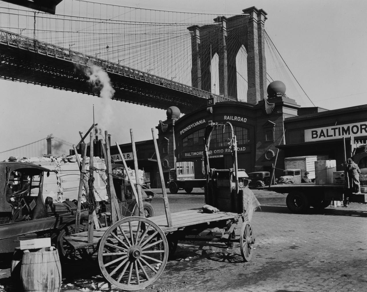 South Street with Brooklyn Bridge (from portfolio lll) Brooklyn Bridge, Pier 21, Pennsylvania Railroad, Manhattan