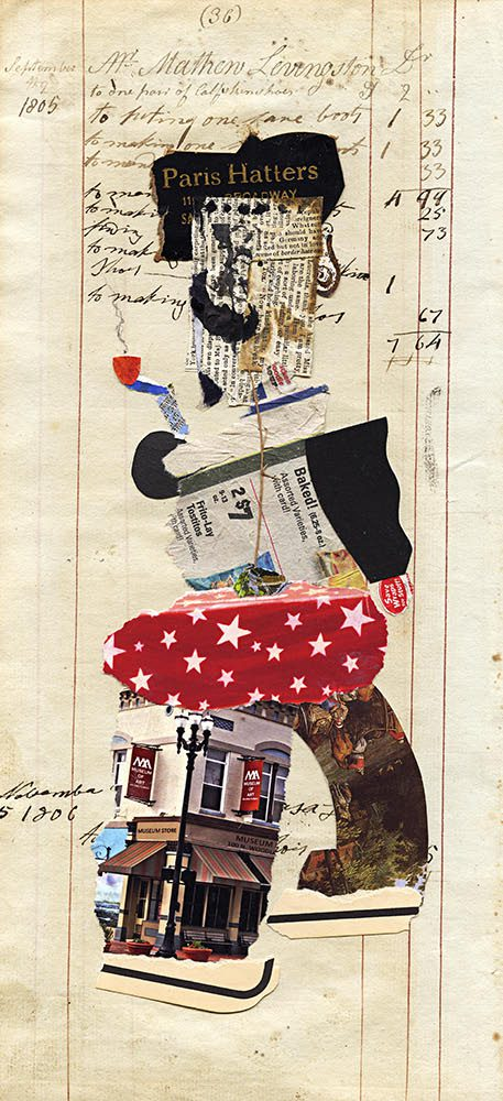 Mr. Livingston (Paris Hatters), Mix Media Collage