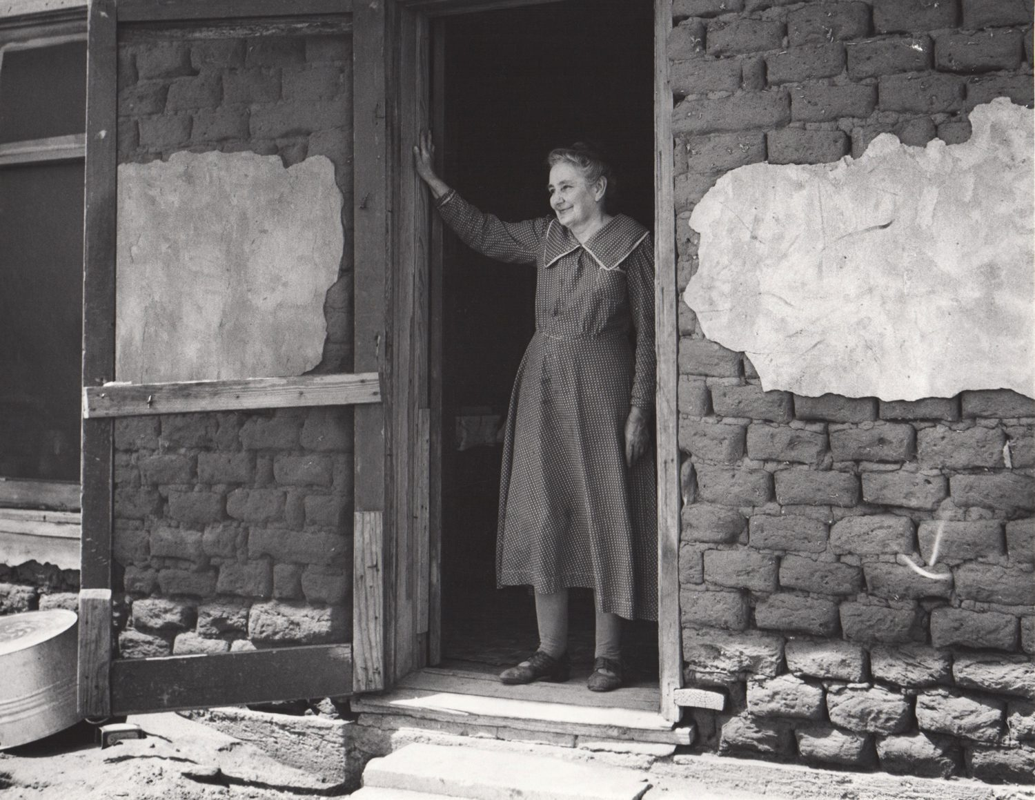 A Pioneer Settler in her sod House, Cimarron County, Oklahoma