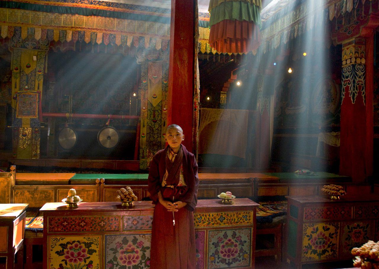 Monk in Early Morning Light at Gasang Monastery, Trindu, Kham, Tibet