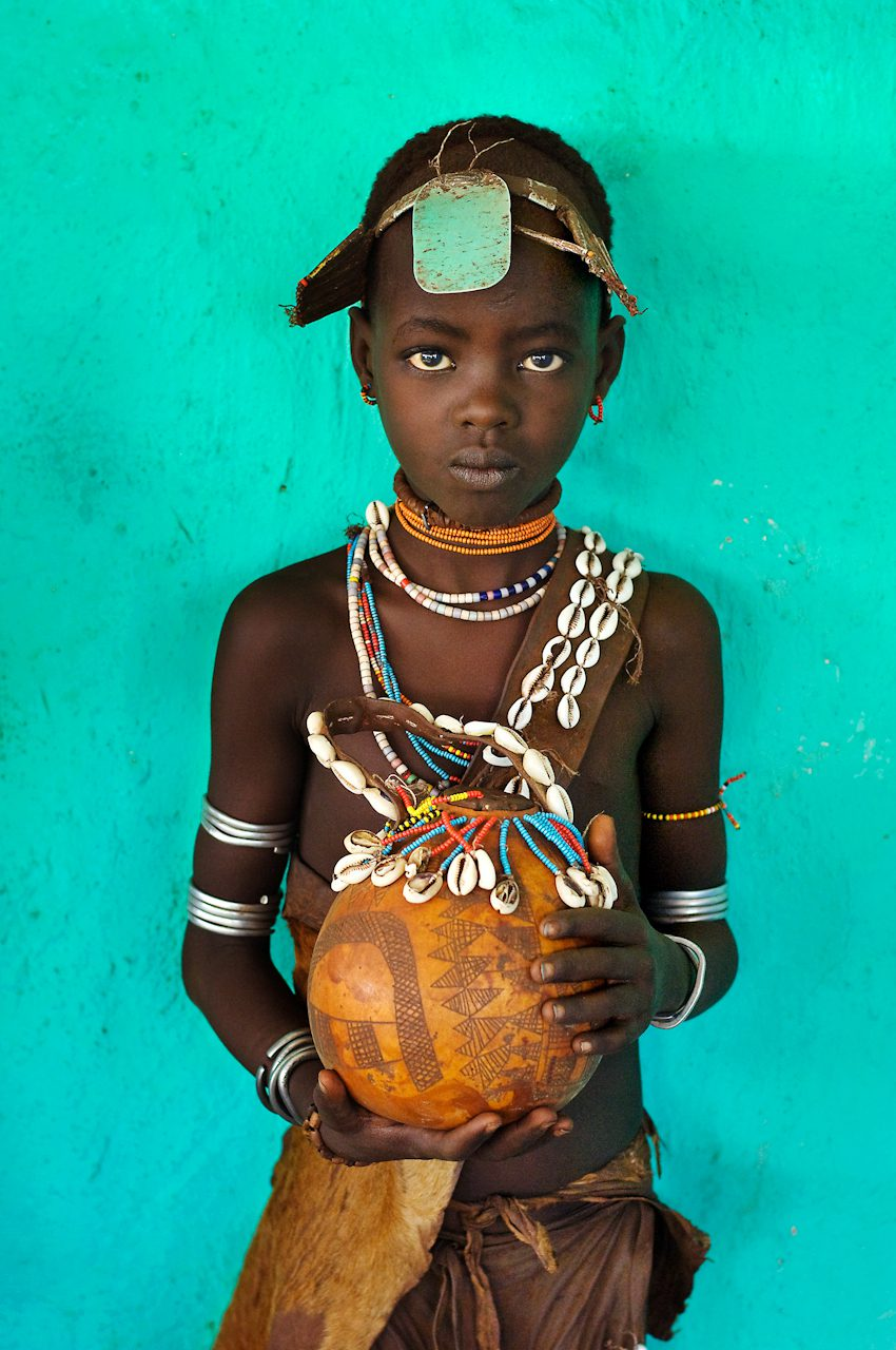 Girl from Hamer Tribe Holding a Gourd, Omo Valley, Ethiopia