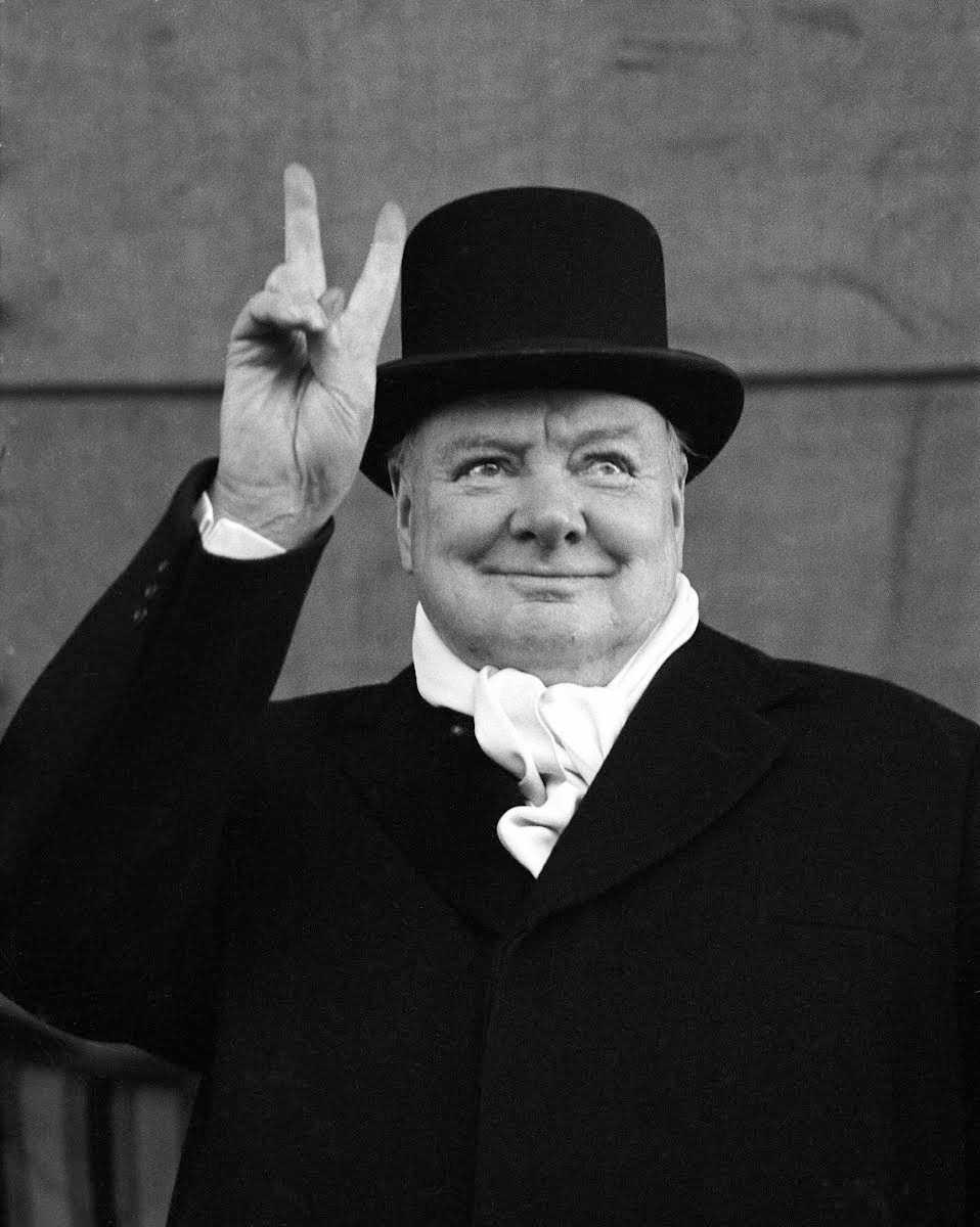 Sir Winston Churchill showing the V sign, Liverpool