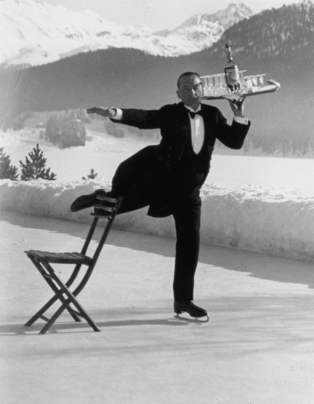 Ice Skating waiter, Grand Hotel St. Moritz