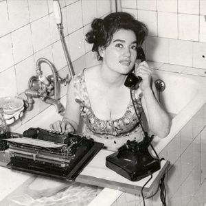 Keystone Press Agency, Our Boss is Not Here - Woman on Telephone and Typewriter in Bathtub