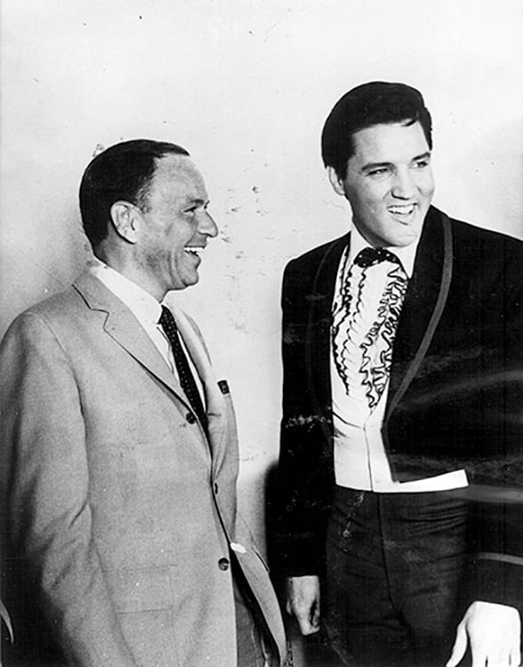 Keystone Press Agency, Frank Sinatra And Elvis Presley Laughing Together On Movie Set