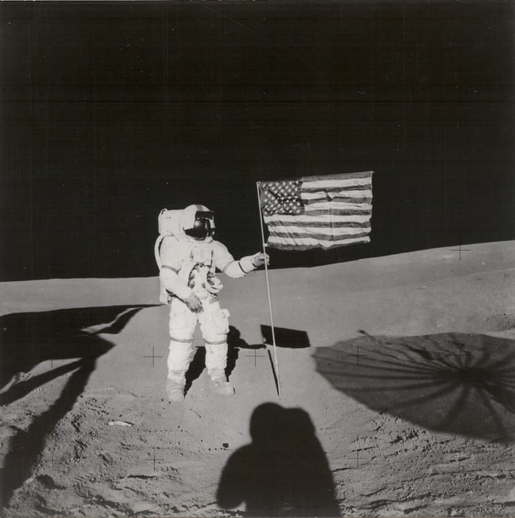 Keystone Press Agency, Alan B. Shepard Holds Flag Moon During Apollo 14 Mission