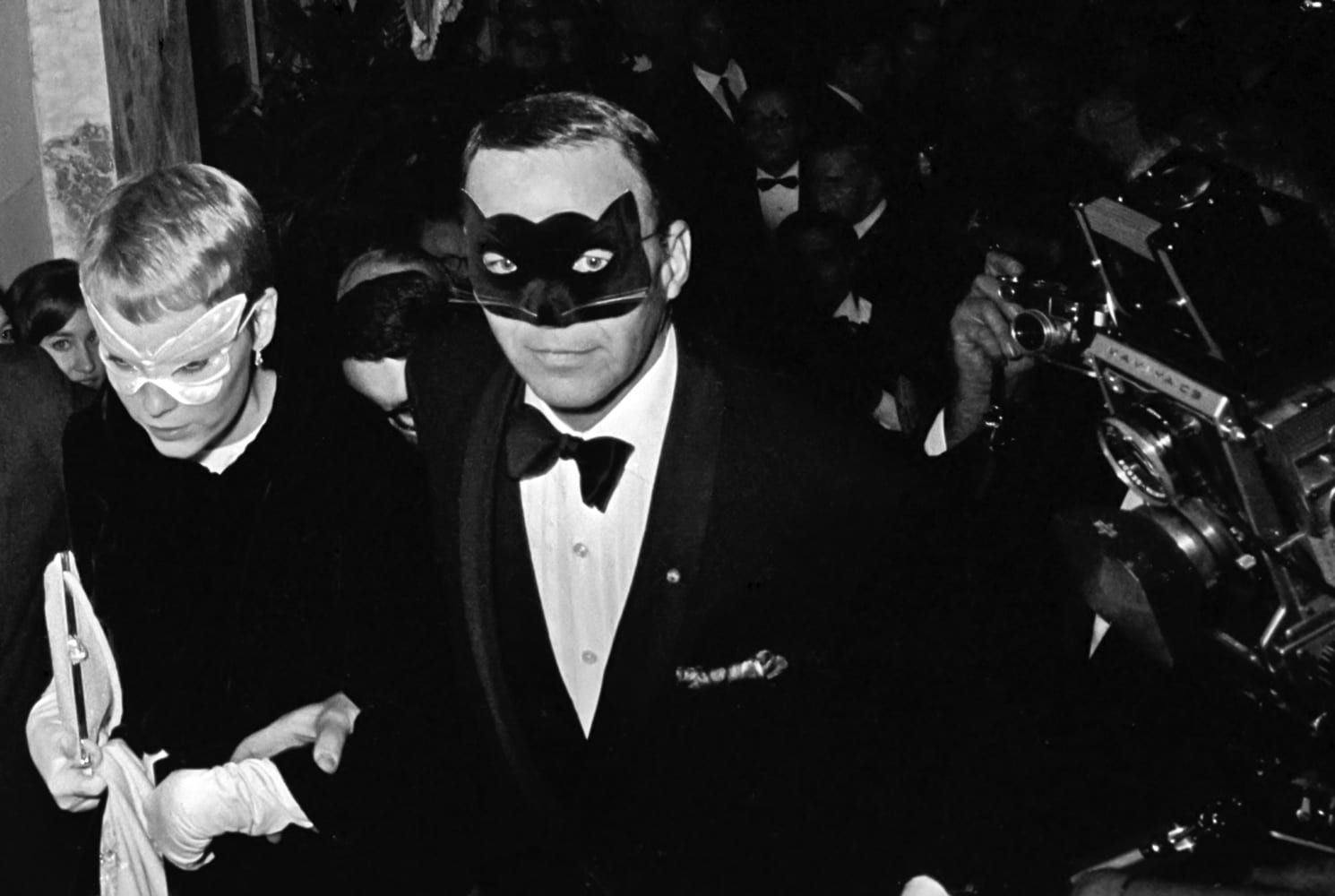 Harry Benson, Frank Sinatra and Mia Farrow at Truman Capote's Black and White Ball