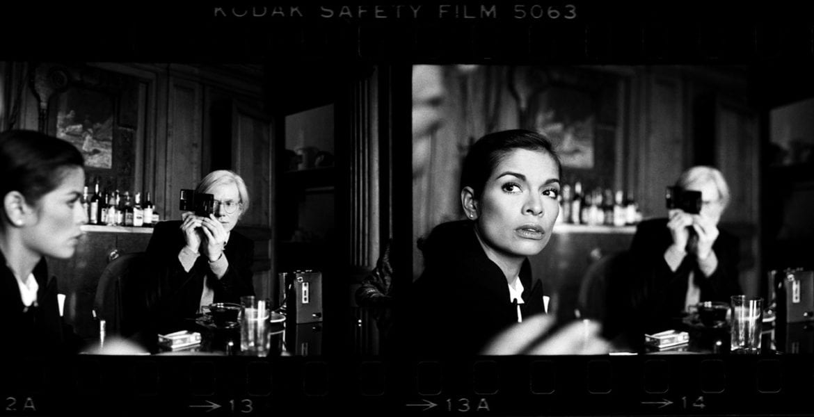 Harry Benson, Andy Warhol and Bianca Jagger at the Factory