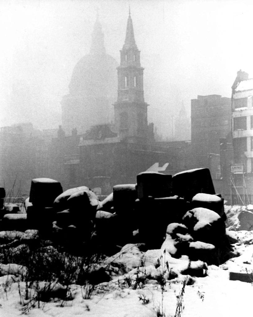 Roger Mayne, Snow in London, St. Paul's, After the Bombing in WWII