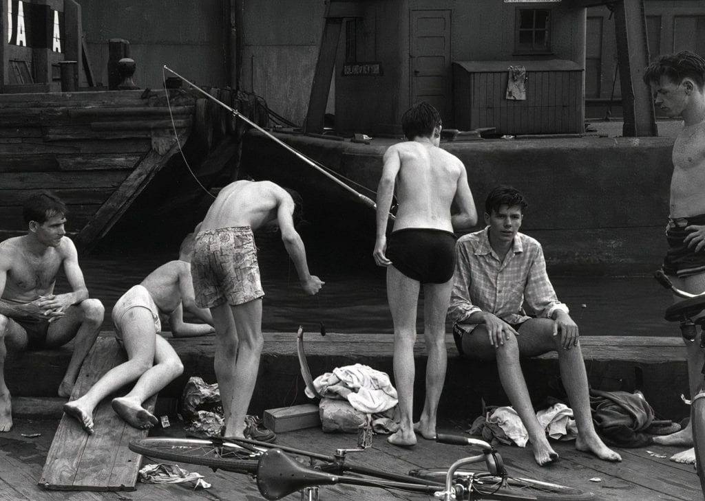 Ruth Orkin, Boys Fishing from Pier