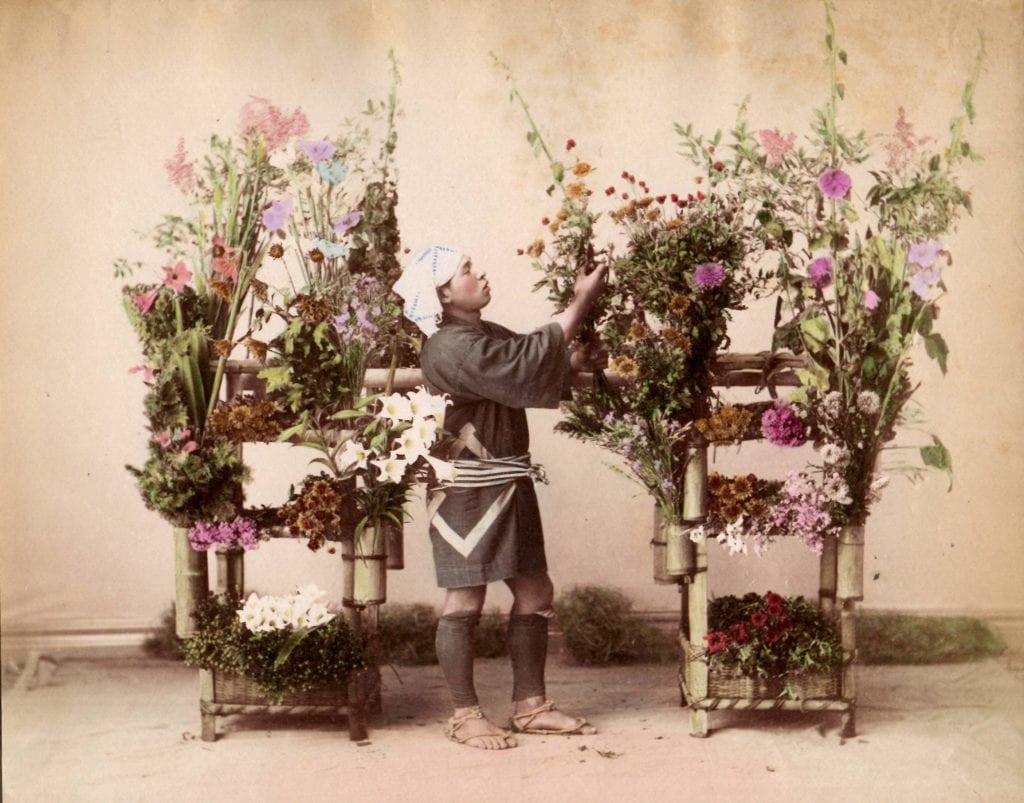 Studio of Felice Beato, Flower Seller