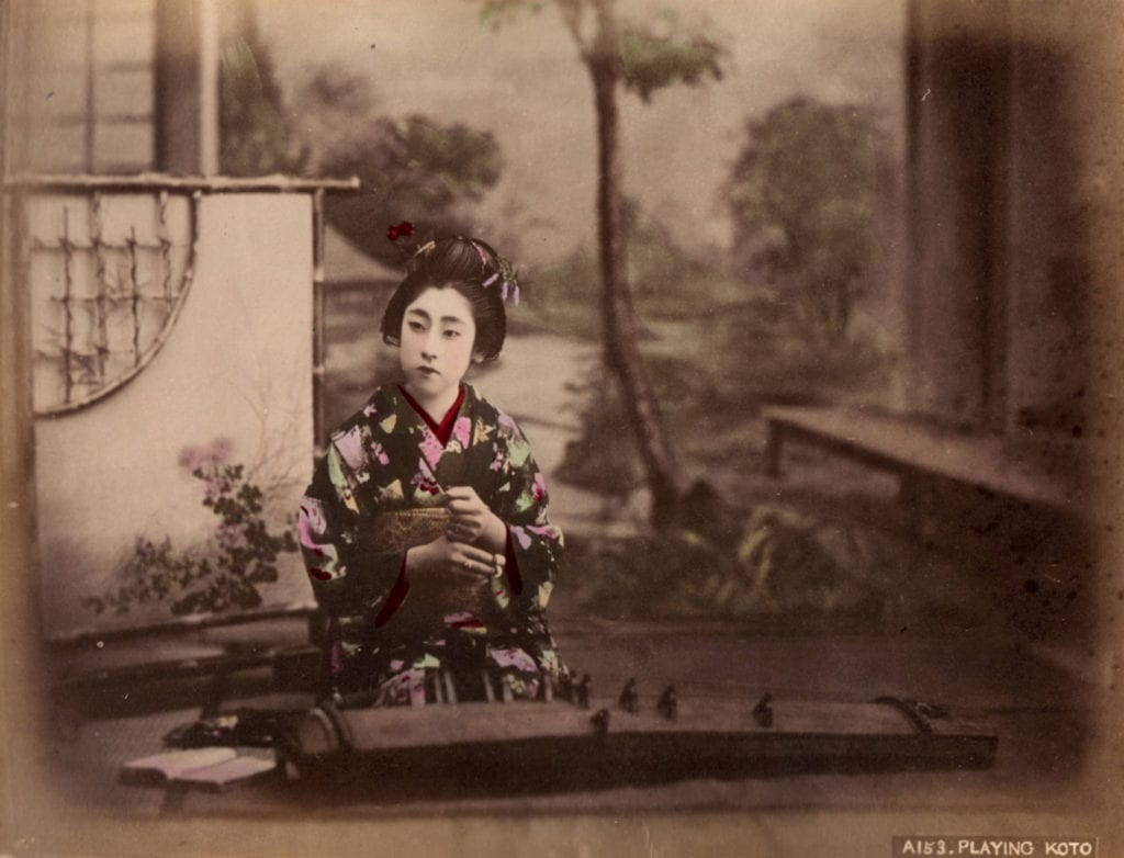 Studio of Felice Beato, Lady Playing a Koto
