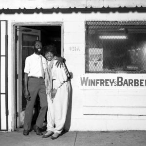 Harry Benson, Oprah Winfrey and Father Outside Barber Shop, Chicago