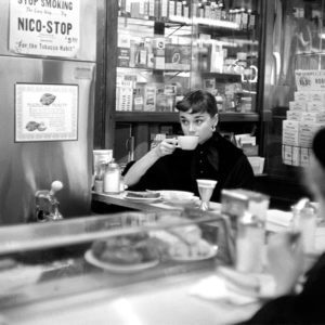 Lawrence Fried, Audrey Hepburn, at an Automat in Times Square, NYC