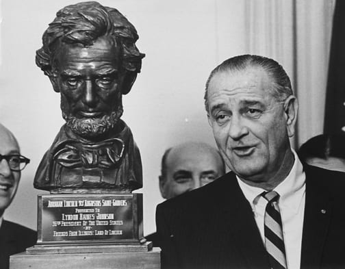 Stan Stearns, President Johnson receives bust of Abraham Lincoln