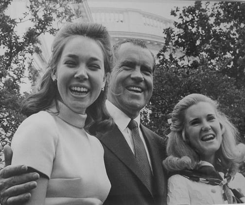 Stan Stearns, President Nixon with daughters, Julia Eisenhower and Tricia Nixon, celebrating Father's Day