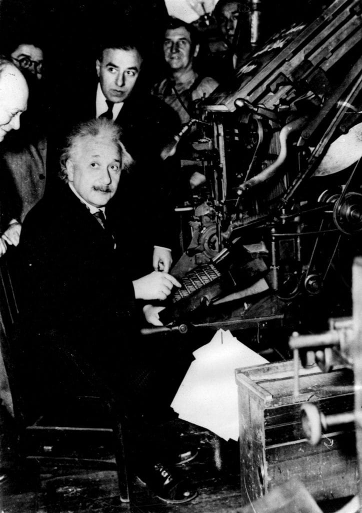 Einstein Setting Type For First Line Of Jewish Newspaper