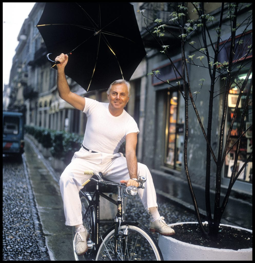 Harry Benson, Armani with Umbrella, Milan