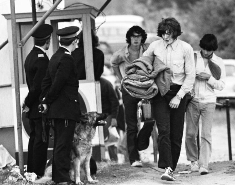 John Loring, Police and drug checking police dog at an entrance to the Isle of Wight Music Festival, August 1969