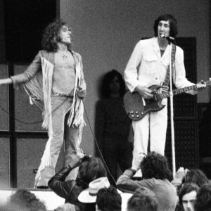 John Loring, Roger Daltrey and Pete Townshend of The Who singing Tommy, Isle of Wight Music Festival, August 1969