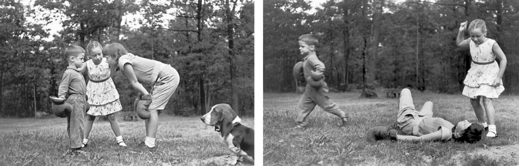 Elliott Erwitt, Kids Boxing, Armonk, New York (Diptych)