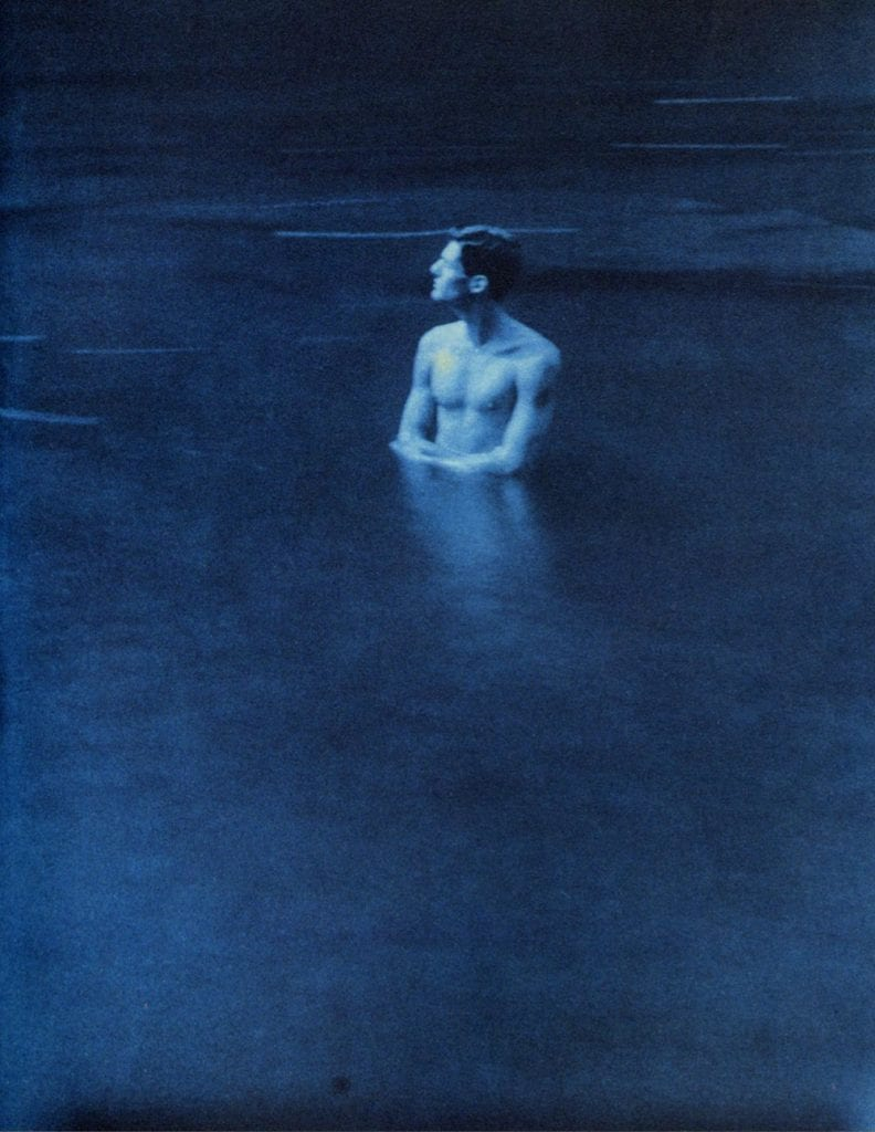 John Dugdale, Self Portrait in Rondout Creek, 1994, Cyanotype Photograph