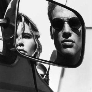 Albert Watson, Claudia Schiffer & Friend in Car Mirror, Rome, 1990