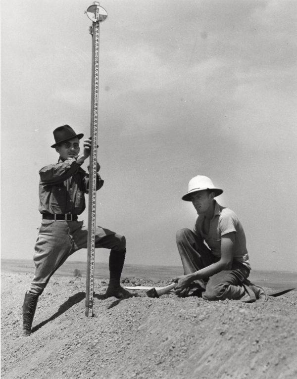 Arthur Rothstein, Surveyors On A Stock Water Dam, Dawes County, Nebraska