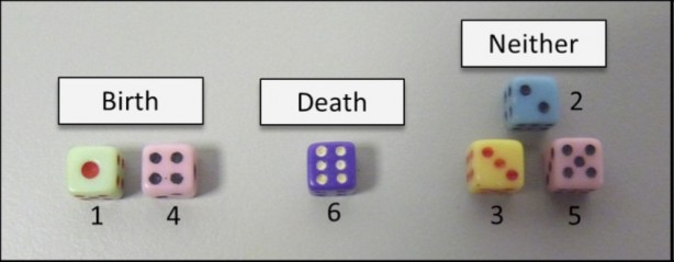 Photo of dice with labels. Birth = dice reading 1 and 4, Death = dice reading 6, Neither = dice reading 3 and 2 and 5.