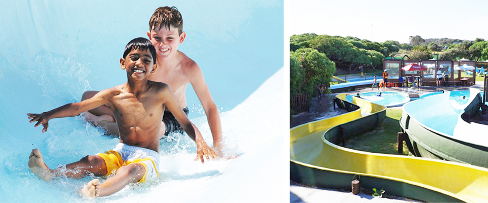 Images of supertube and boys at Waterworld Strand