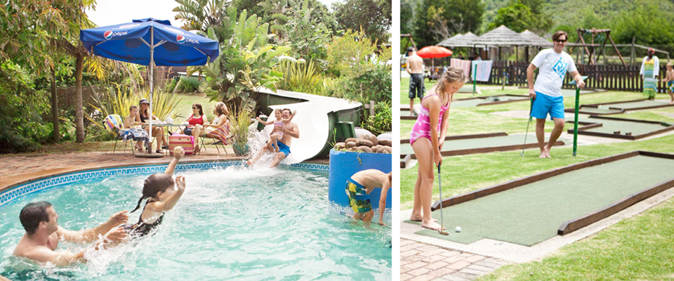 Images of pool, family and putt putt at Waterworld Plett