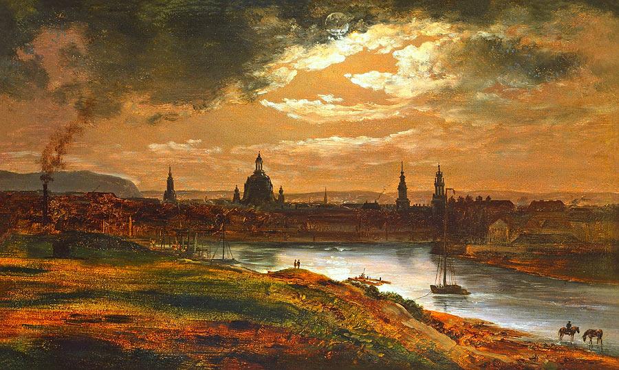 Johan Dahl Norwegian Romanticism Print Larvik By Moonlight