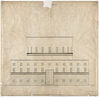 Эрик Гуннар Асплунд: Public Library, Stockholm, Sweden, Elevation of front facade