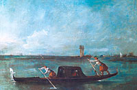 Francesco Guardi: A Gondola on the Lagoon near Mestre