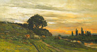 Charles-François Daubigny: Landscape with Cattle by a Stream