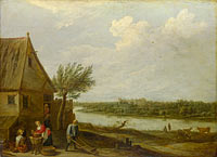 David Teniers the Younger: A Cottage by a River with a Distant View of a Castle
