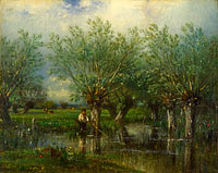 Jules Dupré: Willows, with a Man Fishing