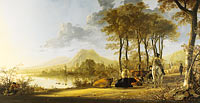 Aelbert Cuyp: River Landscape with Horseman and Peasants