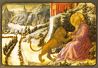 Филиппо Липпи: Saint Jerome and the Lion: Predella Panel