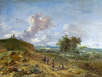 Ян Вейнантс: A Landscape with a High Dune and Peasants on a Road