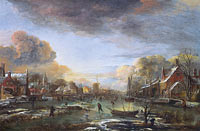 Aert van der Neer: A Frozen River by a Town at Evening