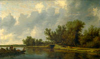 Salomon van Ruysdael: A River Landscape with Fishermen