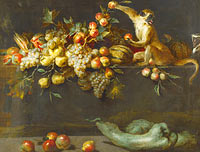 Jan Roos: Still Life of Fruit and Vegetables with Two Monkeys