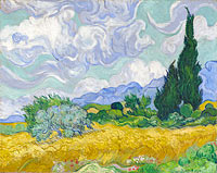 Винсент Ван Гог: A Wheatfield, with Cypresses