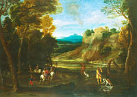 Giovanni Battista Viola: Landscape with a Hunting Party