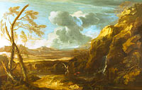 Salvator Rosa: Landscape with Tobias and the Angel